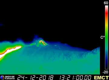 Thermal image of the new lava flow in the upper Valle del Bove on Etna's eastern flank (image: INGV Catania webcam)