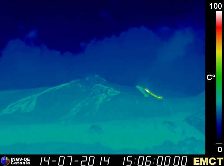 Thermal image of Etna's active lava flows from the effusive vent at the base of the NE crater