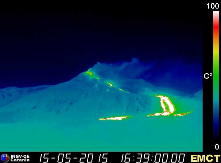 Lava flows from Etna's New SE crater in the northern Valle del Bove (INGV Monte Cagliato thermal webcam)
