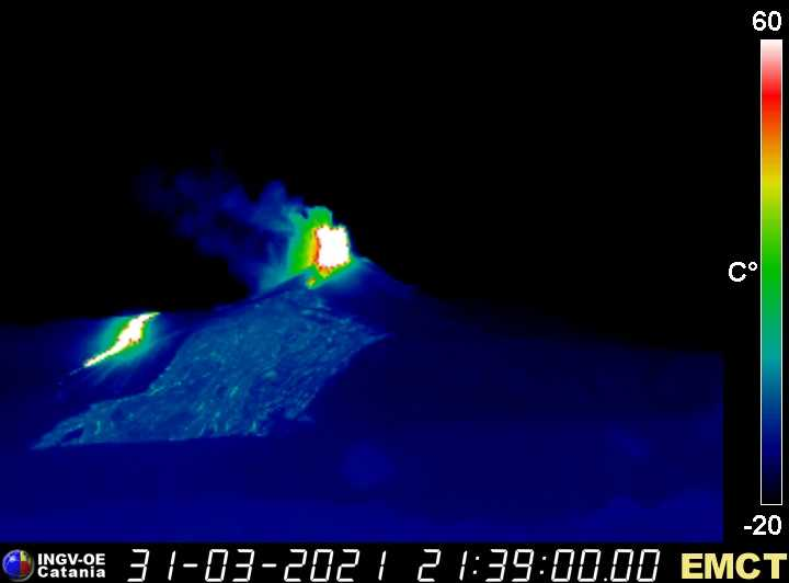 Thermal view from the east side at Monte Cagliato showing the advancing lava flow from the southern vent and the lava fountains of the summit vent (image: INGV webcam)