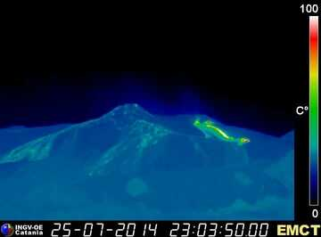 Thermal image of the effusive vents at the base of the NE crater with the lava flow (Monte Cagliato webcam, INGV Catania)