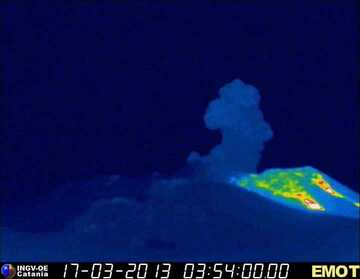 Thermal webcam image at 04:51 showing an ash plume from Etna's Voragine