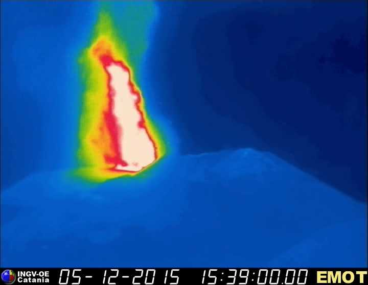 Thermal image showing the lava fountain