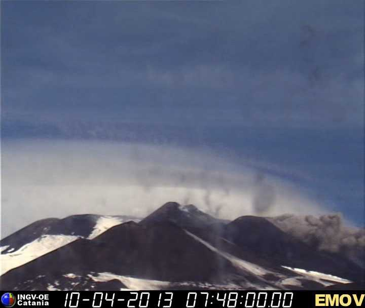 Ash emission from Etna's New SE crater (INGV webcam)