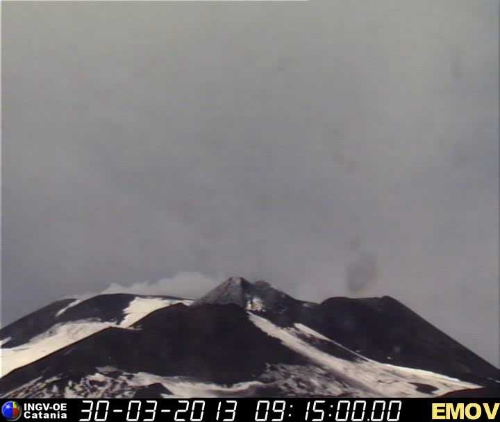 Etna today (the dark patch above the New SE crater is a camera artifact, probably a dirty spot on the lens).