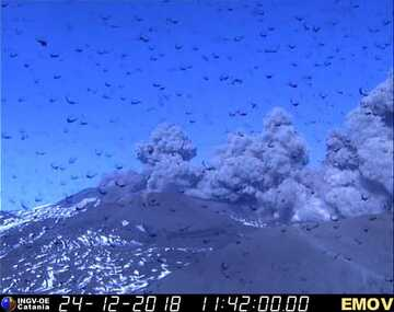 Strong ash emissions from the New SE crater now (image: INGV Catania)