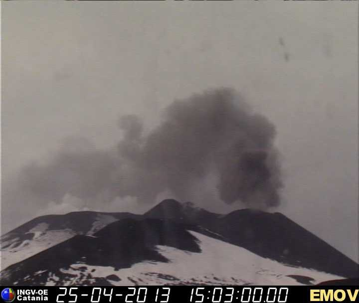 Ash emission from Etna's New SE crater this afternoon (INGV webcam)