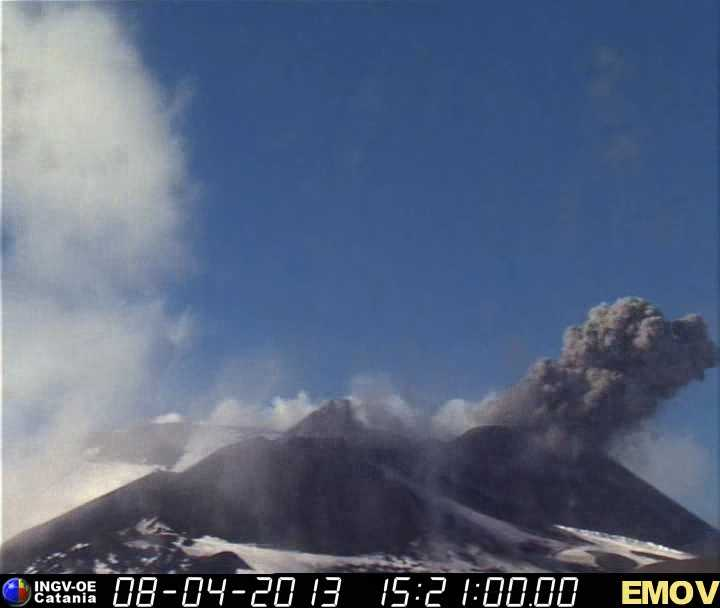 Ash emission from Etna's New SE crater yesterday afternoon (INGV webcam)