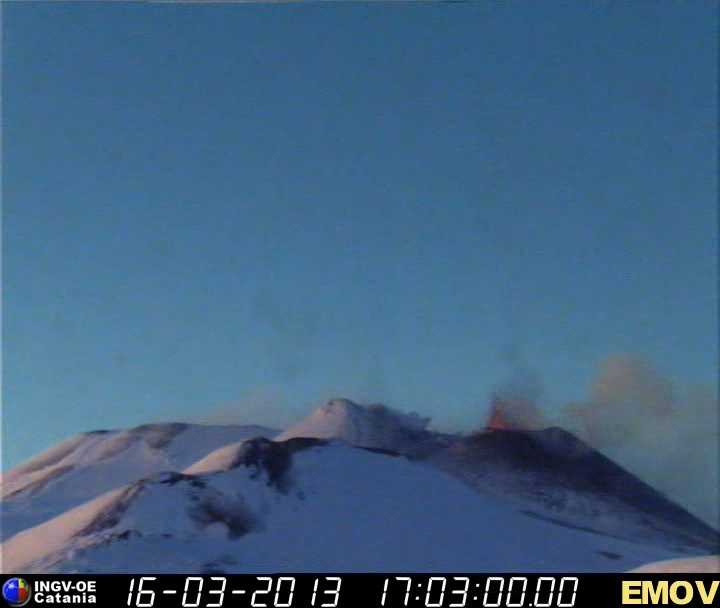 Beginning lava fountains at Etna's New SE crater