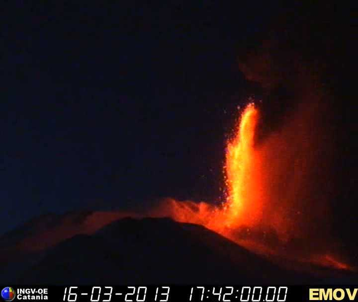 Lava fountains reaching about 1 km height