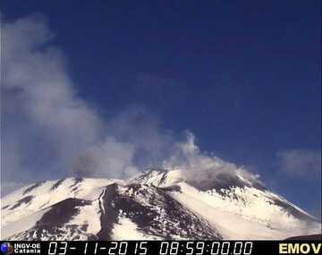 Ash emission from Bocca Nuova crater (Montagnola webcam, INGV Catania)