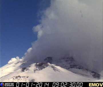 view of the intense degassing (Montagnola webcam, INGV Catania)