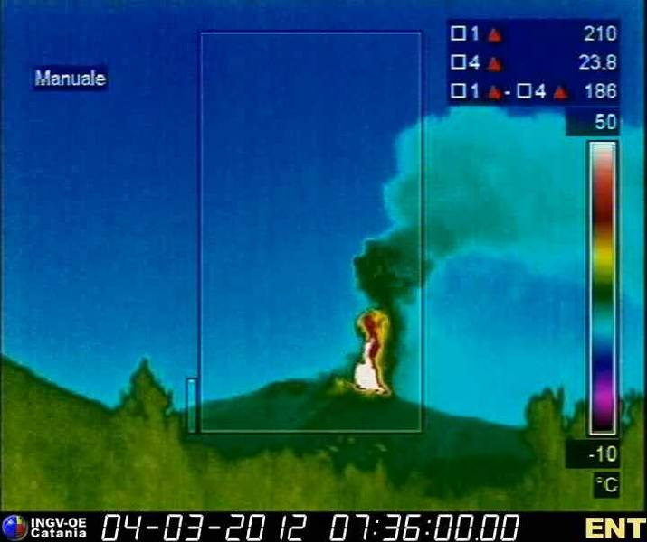 Thermal image showing the heat of the lava fountain and the rising ash and steam plume
