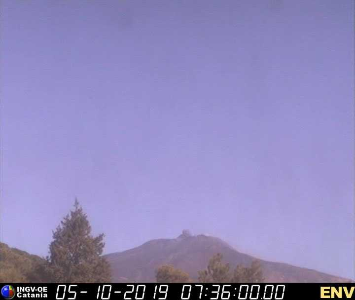 Ash puff from Etna's Central Crater this morning (image: INGV webcam)