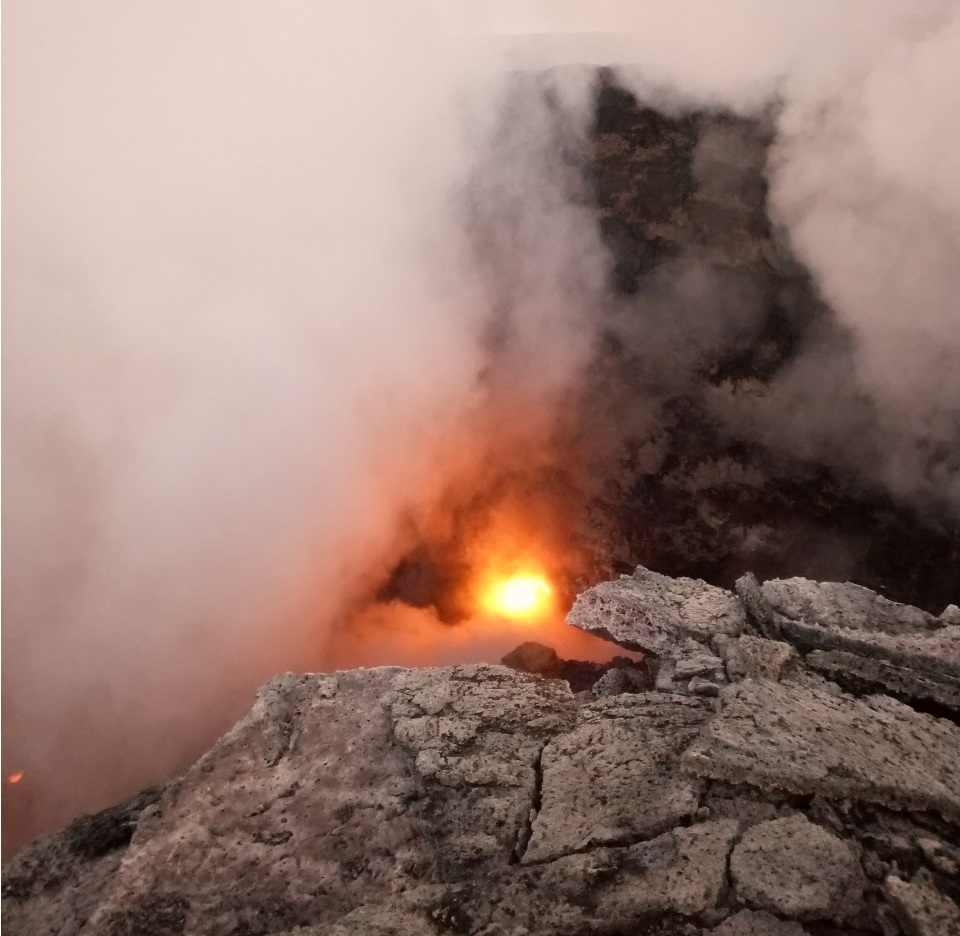 Daytime view of the active lava lake is often obscured by strong degassing (image: Enku Mulugetu, September 2018)