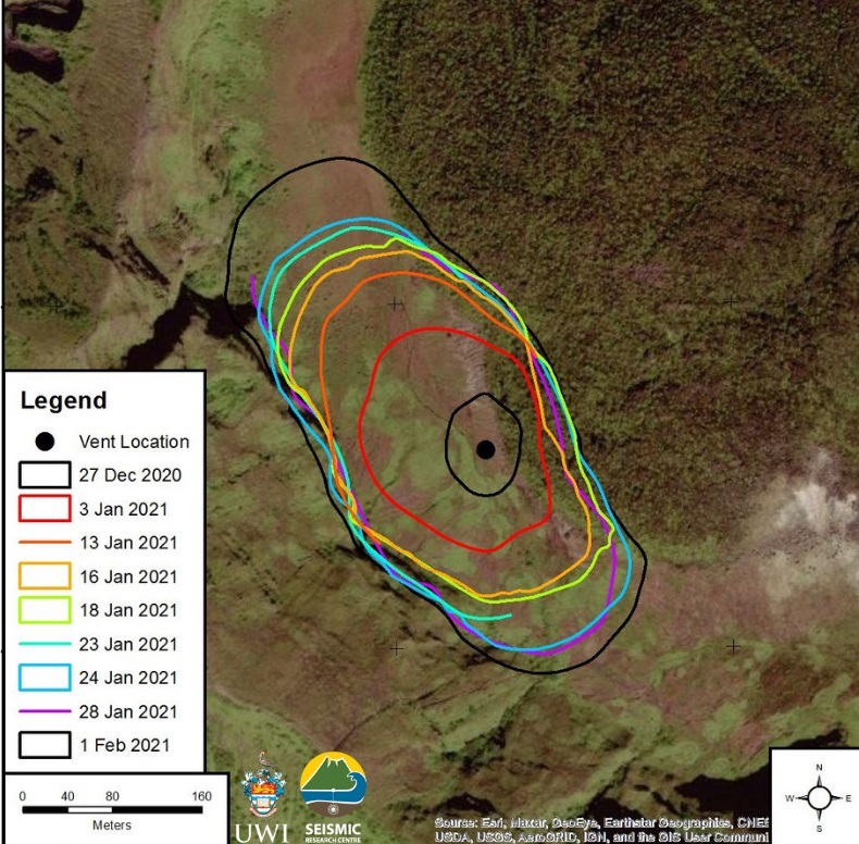 Footprint of the new lava dome showing the growing area since 27 Dec 2020 (image: UWI-SRC)