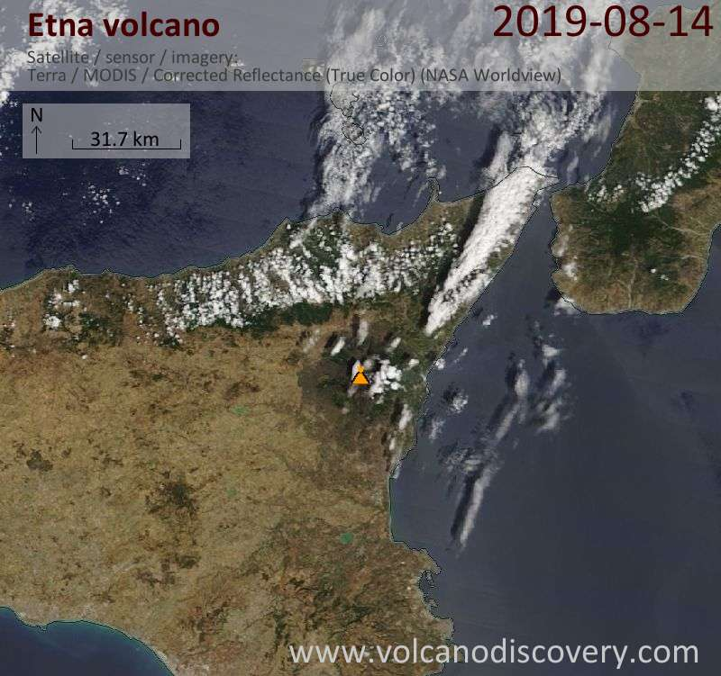 Satellite image of Etna volcano today