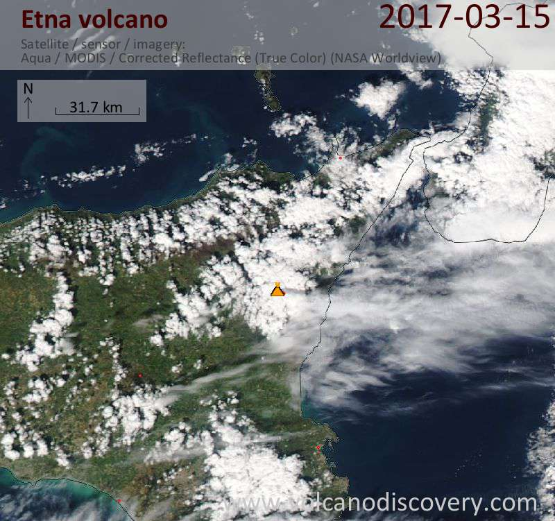 Satellite image of Etna volcano on 15 Mar 2017