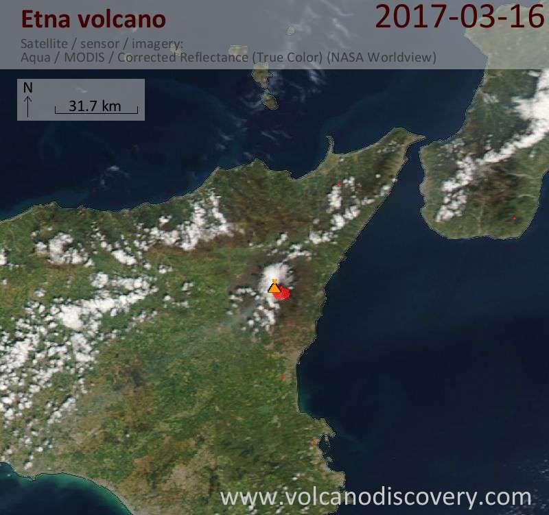 Satellite image of Etna volcano on 17 Mar 2017