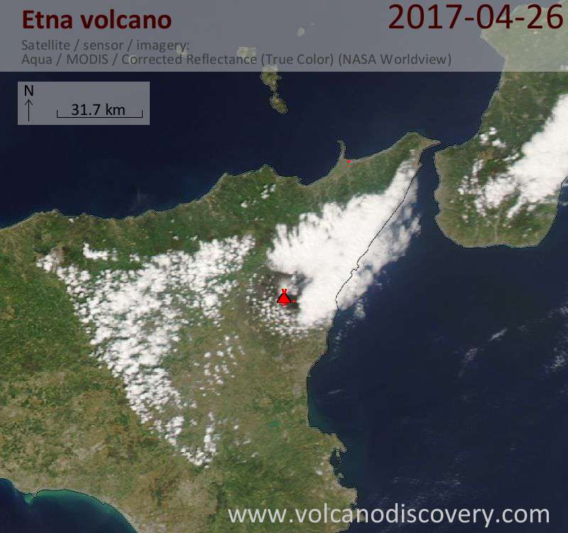 Satellite image of Etna volcano on 26 Apr 2017