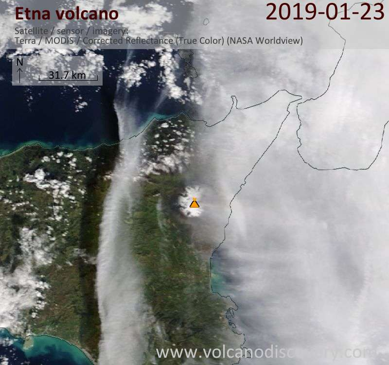 Satellite image of Etna volcano on 23 Jan 2019