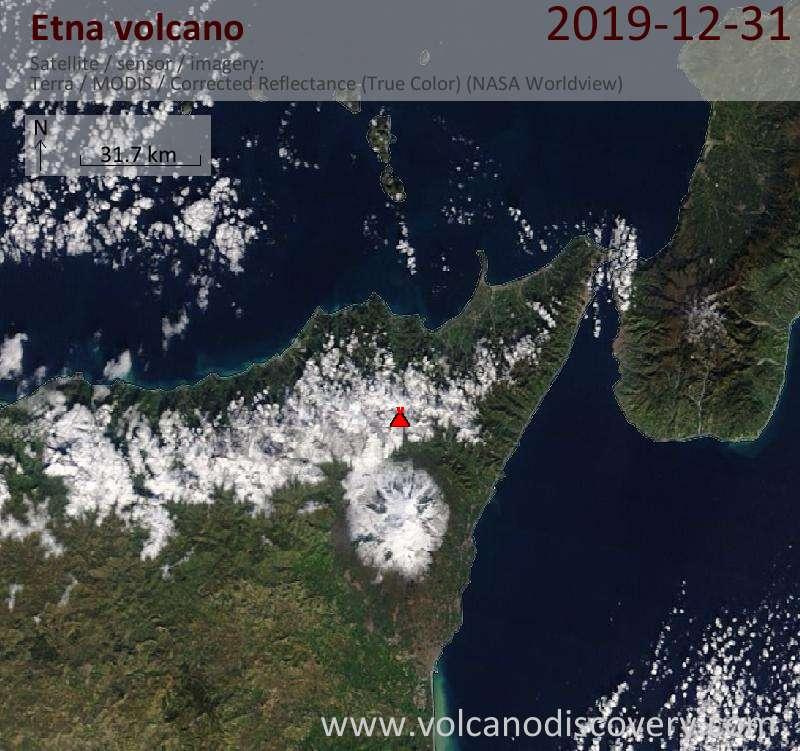 Satellite image of Etna volcano on 31 Dec 2019