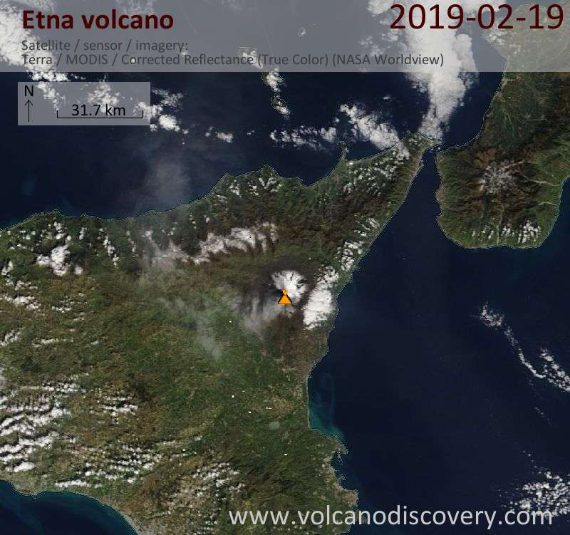 Satellite image of Etna volcano on 19 Feb 2019