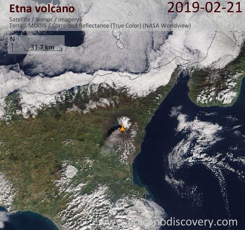 Спутниковое изображение вулкана Etna 21 Feb 2019