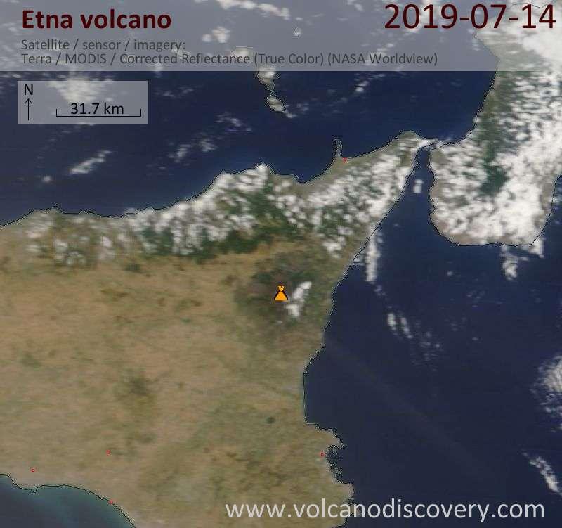 Спутниковое изображение вулкана Etna 14 Jul 2019