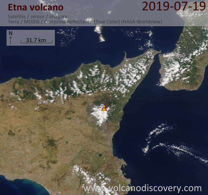 Satellite image of Etna volcano on 19 Jul 2019
