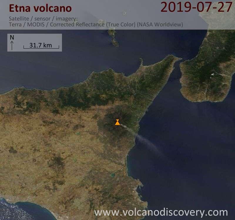 Satellite image of Etna volcano on 27 Jul 2019