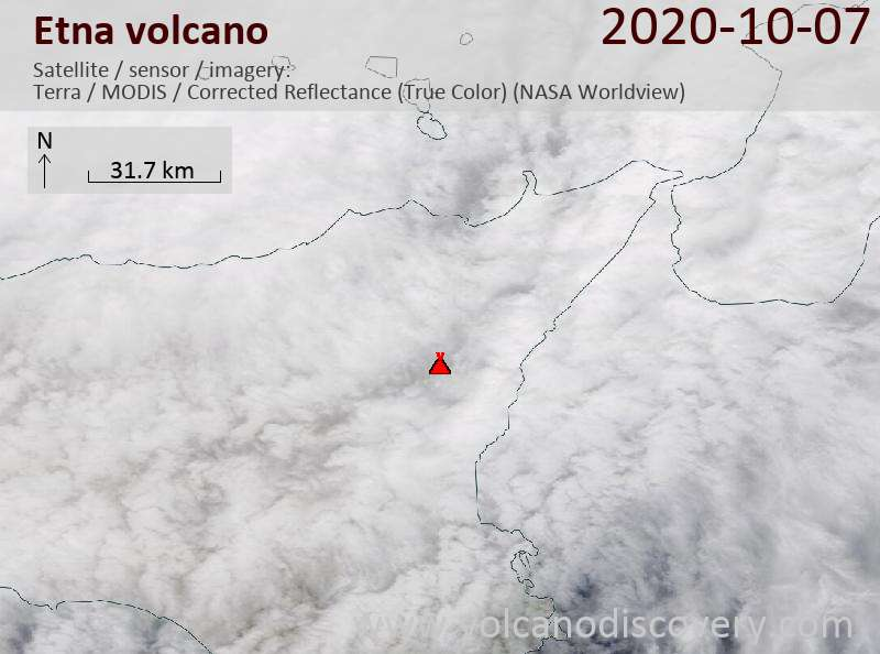Satellite image of Etna volcano on  7 Oct 2020