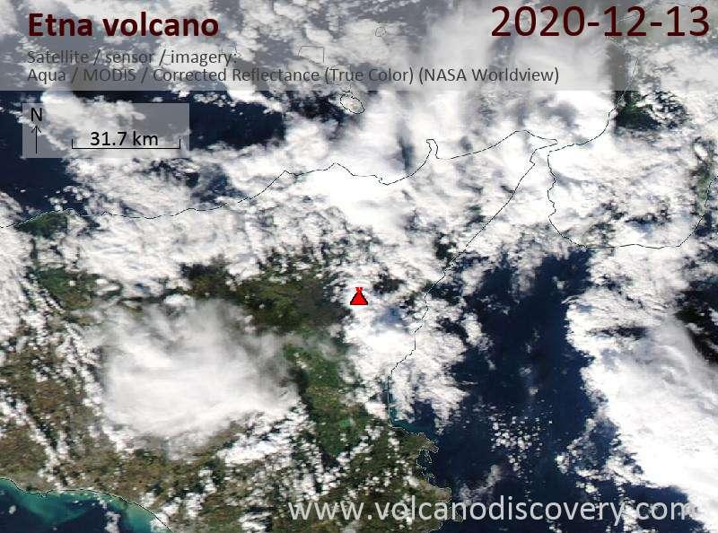 Satellite image of Etna volcano on 13 Dec 2020