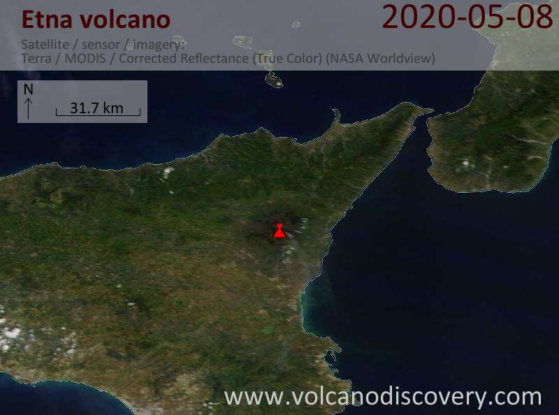 Satellite image of Etna volcano on  8 May 2020