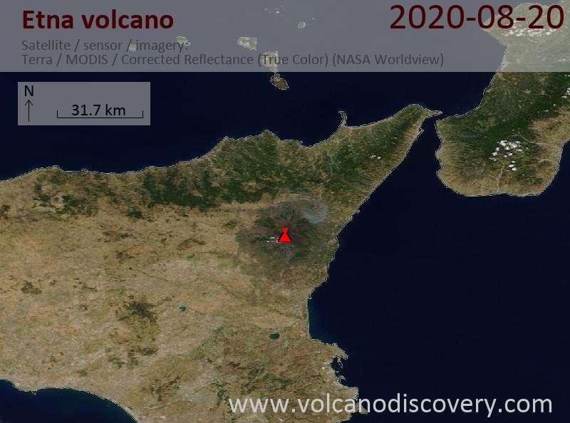 Satellite image of Etna volcano on 20 Aug 2020