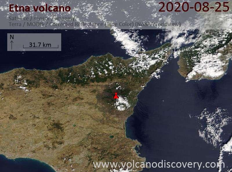 Satellite image of Etna volcano on 25 Aug 2020
