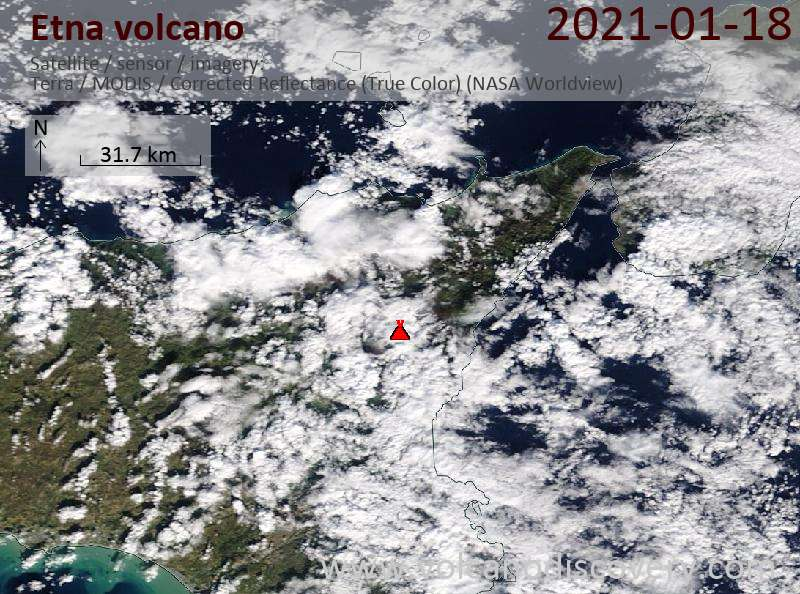 Satellitenbild des Etna Vulkans am 18 Jan 2021