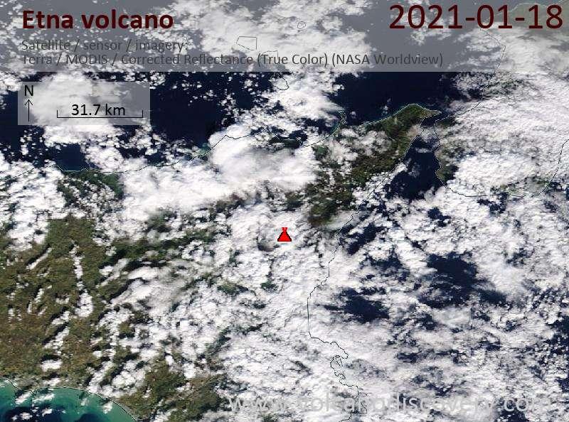 Спутниковое изображение вулкана Etna 18 Jan 2021