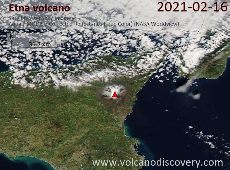 Satellitenbild des Etna Vulkans am 16 Feb 2021