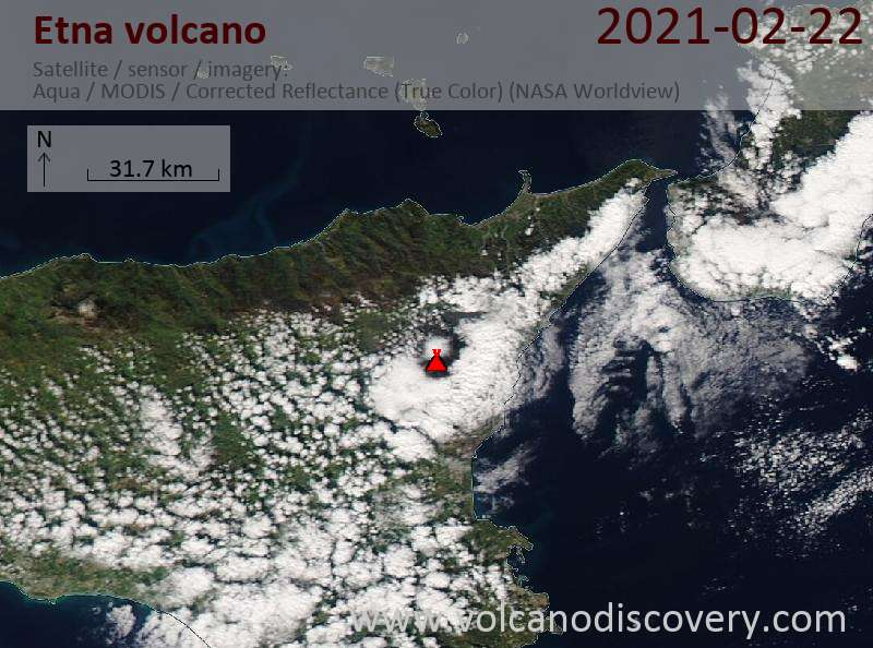 Satellite image of Etna volcano on 22 Feb 2021