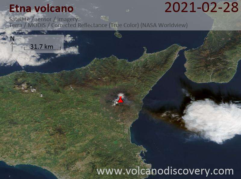 Satellite image of Etna volcano on 28 Feb 2021