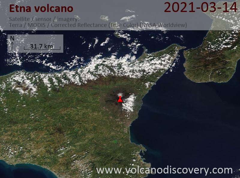 Satellitenbild des Etna Vulkans am 14 Mar 2021