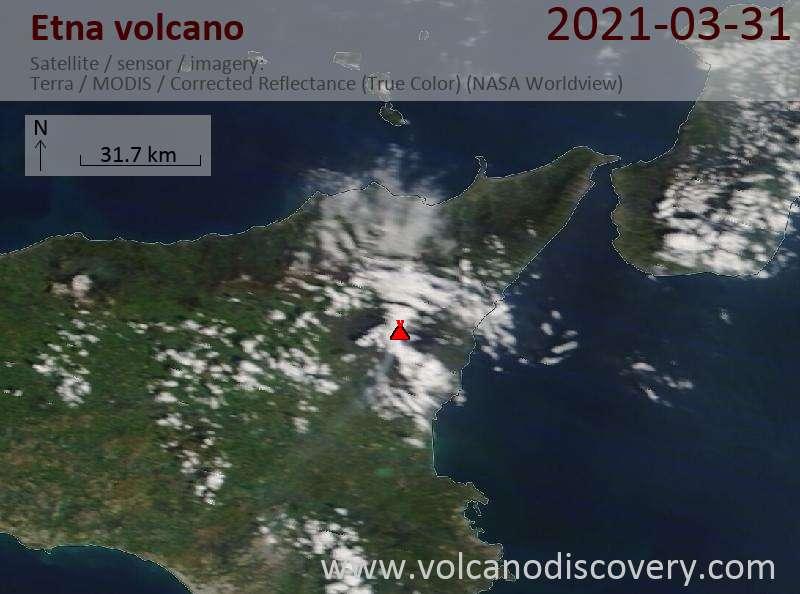 Satellite image of Etna volcano on 31 Mar 2021