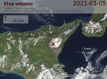 Satellite image of Etna volcano on  9 Mar 2021