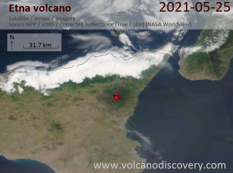 Satellite image of Etna volcano on 26 May 2021