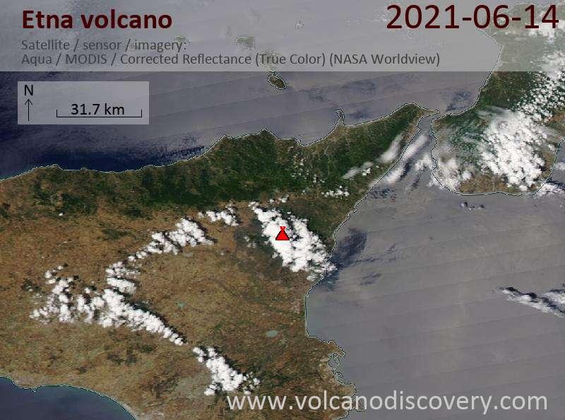 Satellitenbild des Etna Vulkans am 14 Jun 2021