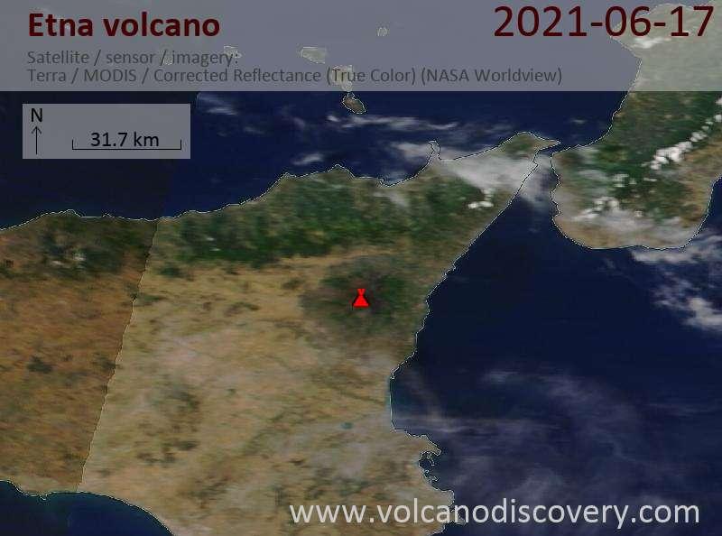 Satellitenbild des Etna Vulkans am 18 Jun 2021