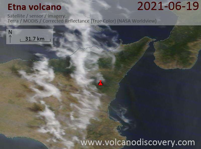 Satellitenbild des Etna Vulkans am 19 Jun 2021