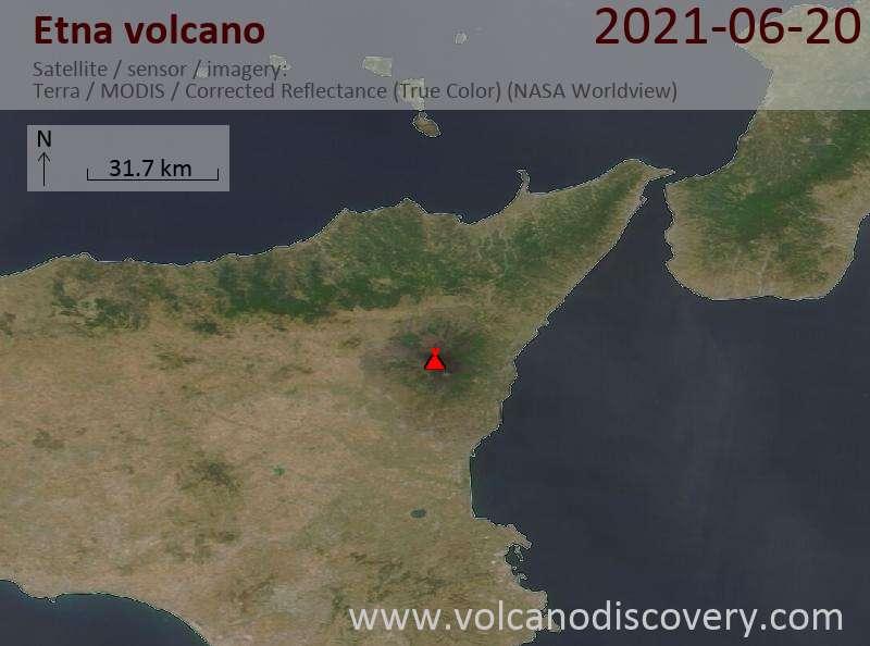 Спутниковое изображение вулкана Etna 20 Jun 2021