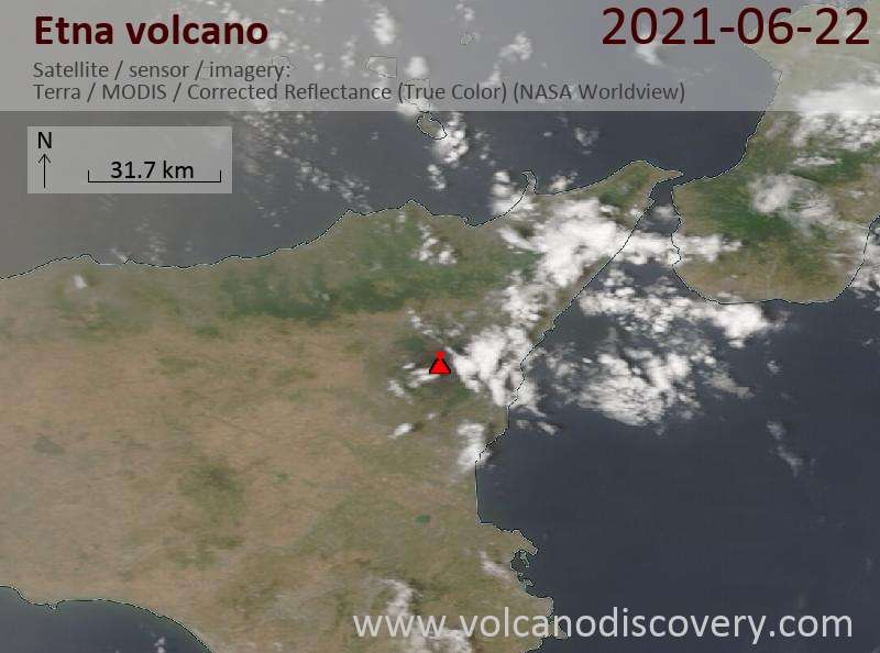 Satellite image of Etna volcano on 23 Jun 2021